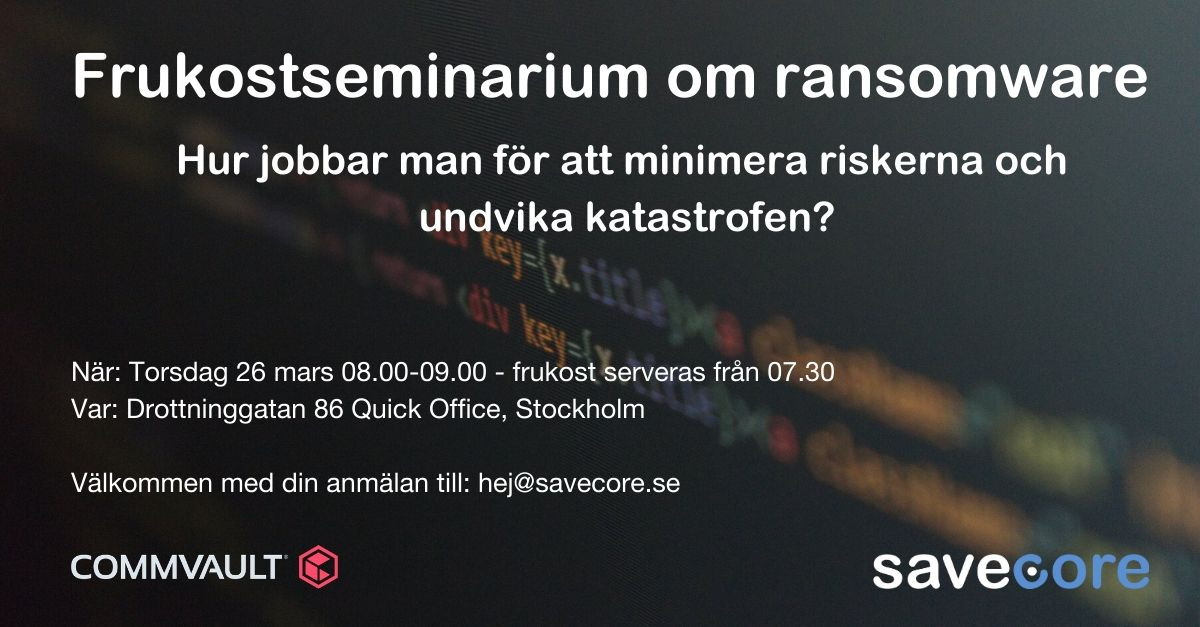 Seminarium om ransomware i Stockholm